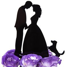 LOVENJOY with Gift Box Kissing Bride Groom and Dog Animal Silhouette Wedding Cake Decoration Topper 53inch Black * You can find more details by visiting the image link.