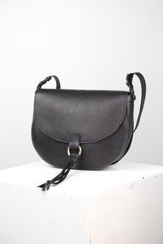 Black Jackie Saddle Bag - Danielle Sakry - Handmade in Minnesota