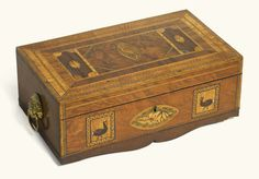 A Scottish George IV marquetry and inlaid specimen hardwood workbox by Jeremiah Mackneil, circa 1820 Lion Mask, Casket, Antique Shops, Art Auction, Hope Chest, Modern Art, Decorative Boxes, Antiques, Storage