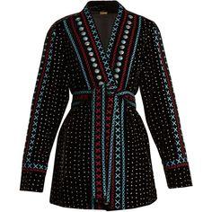 Dodo Bar Or Siya embroidered velvet kimono jacket (30.265 RUB) ❤ liked on Polyvore featuring outerwear, jackets, embroidered jackets, summer kimono jacket, velvet kimonos, bohemian kimono and boho embroidered jacket