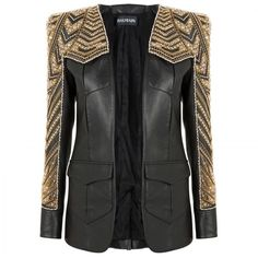 Balmain Leather jacket with beading found on Polyvore