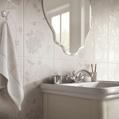 Laura Ashley The White Collection Isodore Wall - British Designer Tiles
