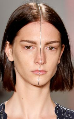 Dion Lee from Makeup & Manicures at New York Fashion Week Spring 2016  Face jewelry by Sarah & Sebastian