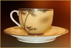 Antique Japanese Satsuma Bamboo Cups & Saucers Tea Set: Gold Encrusted Description follows the photos. As you can see the cups are extremely thin and transparent. Antique Japanese Eggshell Porcelain