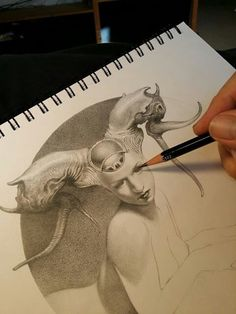 Allen Williams - The Sphinx progress Dark Art Drawings, Fantasy Drawings, Drawing Sketches, Fantasy Art, Really Cool Drawings, Futuristic Art, You Draw, Creature Design, Art Sketchbook