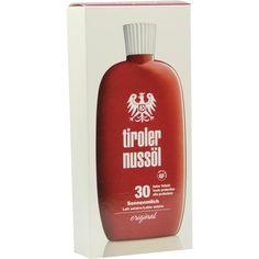 TIROLER NUSSÖL orig.Sonnenmilch wasserfestLSF 30:   Packungsinhalt: 150 ml Milch PZN: 06347503 Hersteller: DERMAPHARM AG Preis: 13,91 EUR…