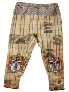 Drawstring trousers from the Yoruba people of Nigeria. The embroidery and beadwork is on Yoruba Ashoke strip woven textiles | © Tim Hamill