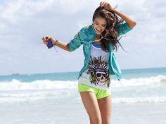 nina dobrev on the beach