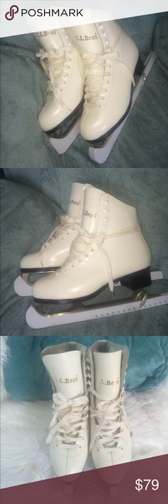 ❤️SALE❤️L.L.⛸ICE SKATING BEAN BOOTS LL BEAN SKATES L.L.⛸ICE SKATING BEAN BOOTS.  LL BEAN SKATES 7-7.5💗. Worn only a few times. 💗HAVE YOUR OWN PAIR OF SKATES FOR THE ICE SKATING RINK OR POND⛸⛸⛸. QUALITY LL BEAN PRODUCT. Blade guards included. Great Condition.some small marks.marked size 💗WOMENS 7,can fit 7-7.5  -Also Fits/Equivalent to 💗BIG KIDS SIZE 5,can fit 5-5.5 in BIG KIDS SIZE.   .tag:winter warm snow shoes snow boots genuine leather white ice skating figure skates vintage L.L. Bean…