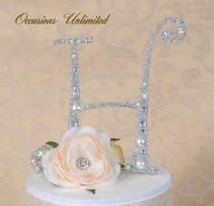 Cake topper bling wedding monogram pearls and crystals... i did this for my wedding and i think i will need to use it for Christmas!