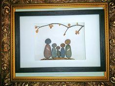 Family Pebble art, Pebble family of art, Stone art, Rock art, Family of six art Family Art, Pebble Art, Art, Design