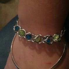 Chainmail beaded bracelete Cute handmade chainmail and beaded bracelet Blue and green beads Silver chainmail  7 inches Can make longer if needed Jewelry Bracelets