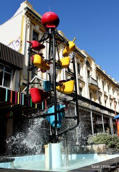 Beautiful #Wellington, #NewZealand - I don't know if this fountain is still there; Cuba Street is no longer pedestrian, I think it's now a bus route, despite a LOT of opposition from locals. Even from those of us living overseas.