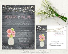 Pink and gray wedding invitations for rustic weddings. Mason Jar wedding invitations and rsvp card designed with the spring, summer, fall or winter rustic wedding in mind. The wedding invitation is 5x7 and has a an option brown or charcoal wood background with a mason jar filled with pretty pink peonies, strings of lights in the background and contemporary fonts and stylings.