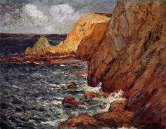 Cliffs, huile sur toile de Maxime Maufra (1861-1918, France)