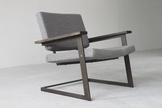 Lounge Chair from WestEdge Design Fair, Brooklyn-based Token Iron Furniture, Home Furniture, Modern Furniture, Furniture Design, Contemporary Chairs, Metal Chairs, Take A Seat, Sofa Chair, Grey Armchair