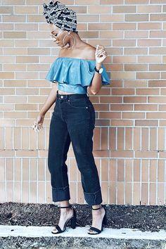 "Wrap Queen Headwrap: @wrapqns , Top: @funkyflairboutique Denim: @levis , Watch: @danielwellington 15% off code: ""KEKECAMERON"" Heels: @target Fashion Look by KeKe Cameron"