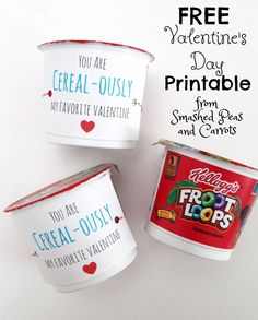 You are Cereal-ously My Favorite Valentine FREE Printable from SmashedPeasAndCarrots.com -- So cute and such a great classroom Valentine's Day treat!