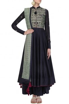Navy Kasab and Sequins Embroidered Anarkali set By Swatti Kapoor