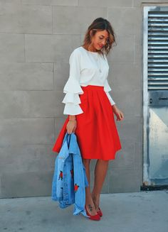 midi skirt, spring outfit, midi red skirt