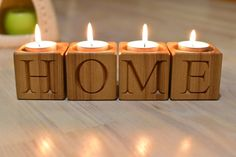 Set of 4 Wood Candle Holder Wood Blocks Home Decor Tealight Rustic Candle Stick Holder Letters Engraved Advent Candle Holder Christmas Decor Rustic Candle Holders, Rustic Candles, Diy Candles, Advent Candles, Wood Blocks, Tea Light Holder, Handmade Wooden, Candlesticks, Candleholders