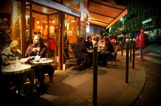 Paris cafe scene at night