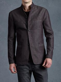 JOHN VARVATOS, Banded Collar Jacket