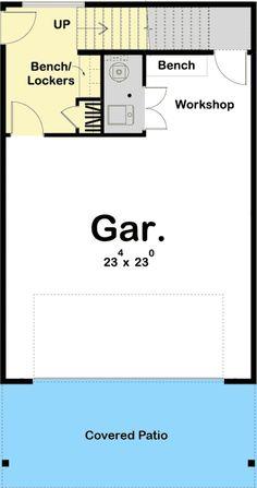 Plan Modern Rustic Garage Apartment Plan with Vaulted Interior - Plan maison House On Stilts, Tiny House Cabin, Cottage House Plans, Tiny House Design, Cabin Homes, Small House Plans, Log Homes, Garage Plans With Loft, Narrow Lot House Plans