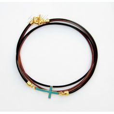 Brown Leather with Cross Necklace necklace Leather Necklace, Brown Leather, Jewelry Making, Bracelets, Gold, Leather Collar, Bracelet, Bangles, Jewellery Making
