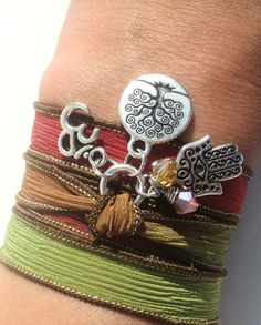 Tree of Life Hamsa Silk Wrap Bracelet Om by BohemianEarthDesigns, $29.95
