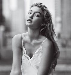 Gigi Hadid - Hadid in a La Perla silk-satin slip, $817. Hair: Thomas Dunkin; Makeup: Francelle; Fashion Editor: Karen Kaiser