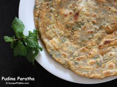 Today's recipe is Pudina Paratha. Pudina or Mint, a very aromatic and healthy herb is a favorite herb at home next to coriander. We consume it at least twi