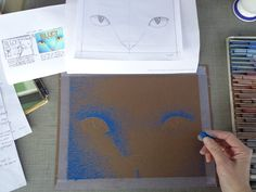 """""""And thus began the process of illustrating the cover art for Blucy. Using chalk pastels, this shows the first blue colors of Blucy's face being placed onto the dark brown paper."""" -- Erika LeBarre www.facebook.com/BlucyTheBlueCat Blue Colors, Chalk Pastels, Blue Cats, Brown Paper, Medium Art, Erika, Cover Art, Dark Brown, The Darkest"""