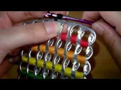 How to crochet soda tab clutch purse ( vid. Soda Tab Crafts, Can Tab Crafts, Aluminum Can Crafts, Tape Crafts, Capsule Coca, Pop Tab Purse, Clutch Purse, Pop Top Crafts, Pop Can Tabs