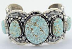 Navajo Handmade Sterling Silver #8 Turquoise Bracelet - Gilbert Tom