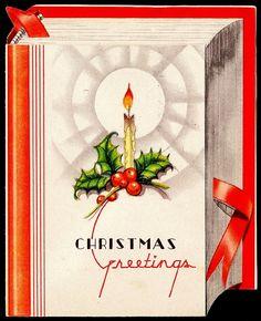 Art Deco book Christmas card.
