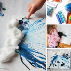 How to make a rain cloud dripping with crayon wax