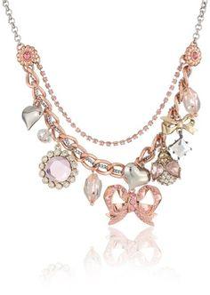 "Amazon.com: Betsey Johnson ""Iconic Vintage Rose"" Bow Multi-Charm Frontal Necklace: Jewelry"