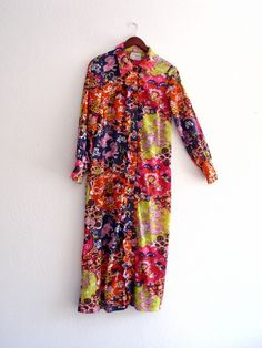 Vintage 1970 Multi Colored Asian inspired Jersey Maxi by KheGreen