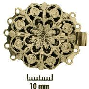 Rhodium Plate, Old Palladium Color, Filigree Rounder, Push-Pull Box Clasp, 5-strand, 26mm, (1 clasp)    Land of Odds - Jewelry Design Center  www.landofodds.com