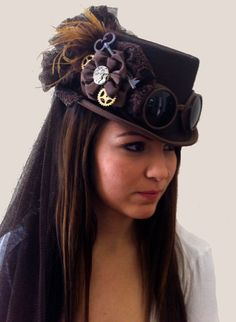 Steampunk Brown Riding Hat with Goggles and Gears by JillieKatHats, $79.00