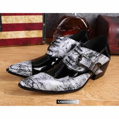 Men Black White Gray Grey Patent Snakeskin Leather High Heel Dress Shoe SKU-1100433