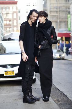 Two models together. On the right is Lorena Angjeli, wearing Rick Owens. Street Goth, Street Wear, Street Style, All Black Fashion, Fashion Couple, Grunge Goth, Ninja Goth, Post Apocalyptic Fashion, Kooples