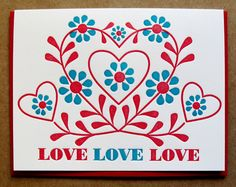 (Love Folk Greeting Card by dutchdoor on Etsy.) #red #aqua #turquoise #dining #art #etsy