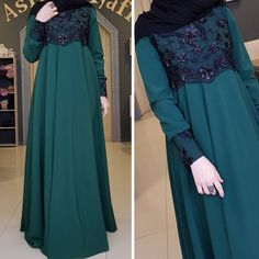 Try to match brighter colour Abaya Fashion, Modest Fashion, Fashion Dresses, Hijabi Gowns, Simple Long Dress, Muslimah Wedding Dress, Moslem Fashion, Modele Hijab, Mode Abaya