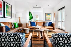 I like how the base of warm neutrals are offset by the color and pattern. CottesloeHouse - desire to inspire - desiretoinspire.net