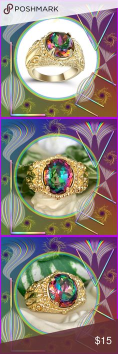 """🌺🎄NWOT:  RHODIUM PLATED MYSTIC TOPAZ RING 🌴🌺 🌺🌴🌺 Beautiful golden rhodium plated mystic topaz ring is brilliant in both the topaz stone as well as the bright gold.  This is a large ring and could be worn by a woman or a man.  The colors change in different light and is beautiful in all.  This ring will never rust and always maintain its beauty.  The stone is almost 1/2"""" wide x 1/2"""" high.  The gold at the widest part is 1/2"""".  The center back is 2/8"""" wide. 🌺🌴🌺 Jewelry Rings"""
