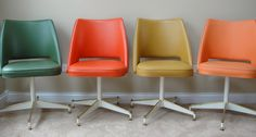 Set of Four Colorful Vintage B. Brody Seating Co Chicago IL Swiveling Vinyl Chairs. $450.00, via Etsy.