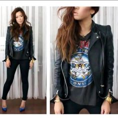 Zara leather jacket and rocker tee with a peek a boo bright color