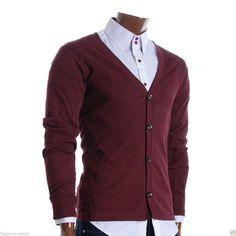 FLATSEVEN Mens Slim Fit Stylish Button up Cardigan (C100) Wine #FLATSEVEN #Cardigan #menswear #fashion #clothing #clothes #style #winter